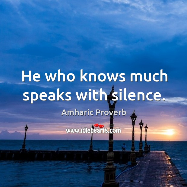 Image, He who knows much speaks with silence.