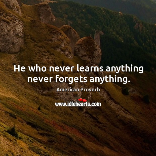 He who never learns anything never forgets anything. American Proverbs Image
