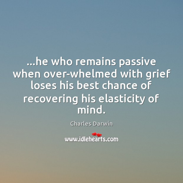 …he who remains passive when over-whelmed with grief loses his best chance Charles Darwin Picture Quote