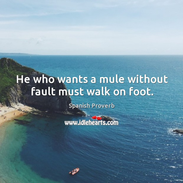 Image, He who wants a mule without fault must walk on foot.