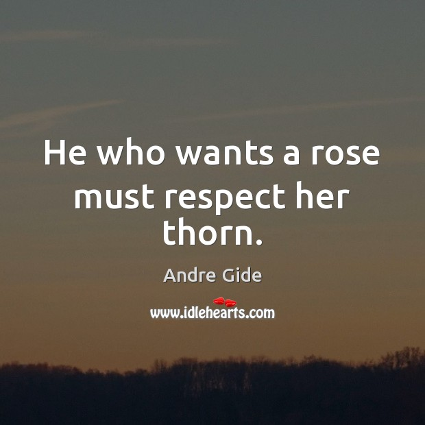 Image, He who wants a rose must respect her thorn.