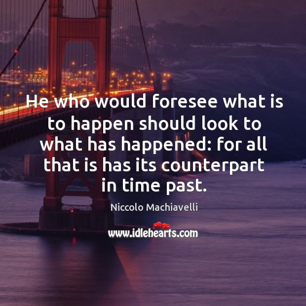 He who would foresee what is to happen should look to what Image