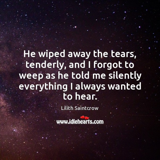 He wiped away the tears, tenderly, and I forgot to weep as Lilith Saintcrow Picture Quote