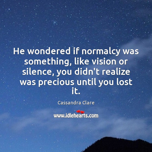 He wondered if normalcy was something, like vision or silence, you didn't Image