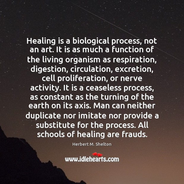 Healing is a biological process, not an art. It is as much Image