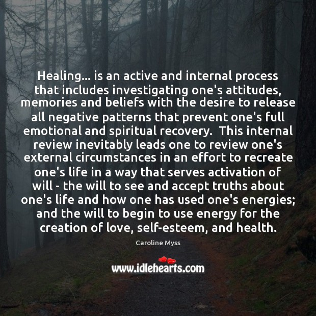 Image, Healing… is an active and internal process that includes investigating one's attitudes,