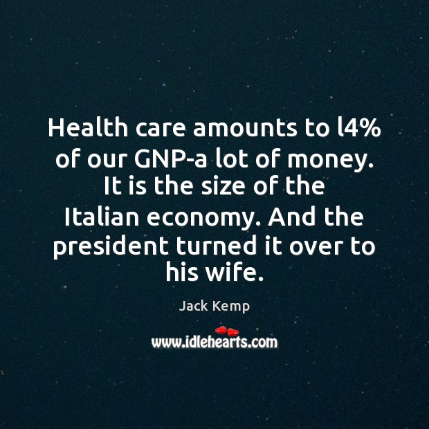 Health care amounts to l4% of our GNP-a lot of money. It Image