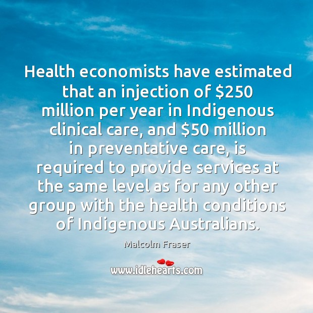 Health economists have estimated that an injection of $250 million per year in indigenous clinical care Malcolm Fraser Picture Quote
