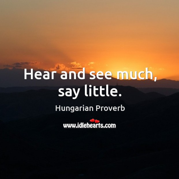 Image, Hear and see much, say little.