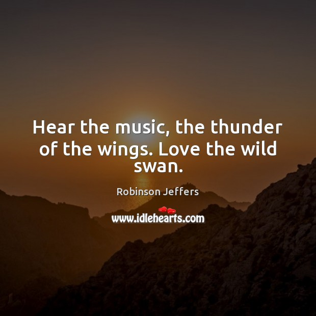 Hear the music, the thunder of the wings. Love the wild swan. Robinson Jeffers Picture Quote