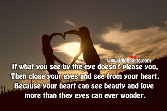 Only heart can see the real beauty Heart Touching Quotes Image