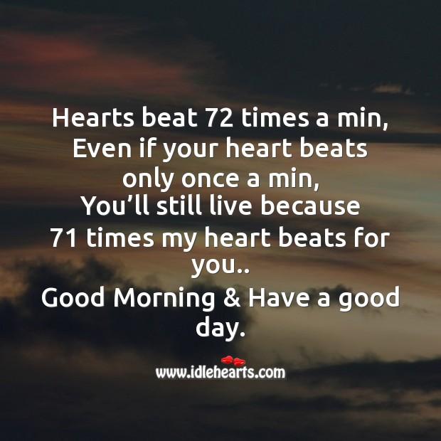 Hearts beat 72 times a min Image