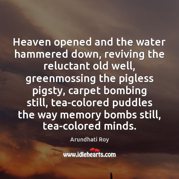 Heaven opened and the water hammered down, reviving the reluctant old well, Arundhati Roy Picture Quote