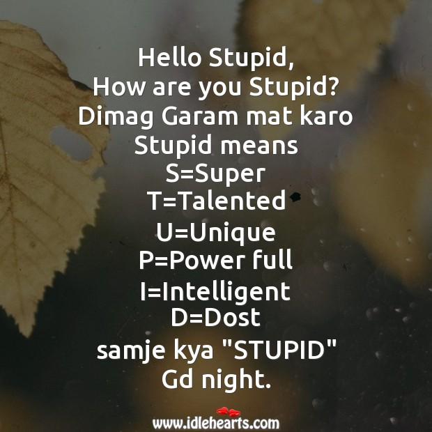 Hello stupid Good Night Messages Image