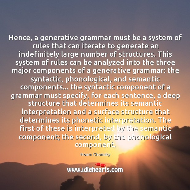 Image, Hence, a generative grammar must be a system of rules that can