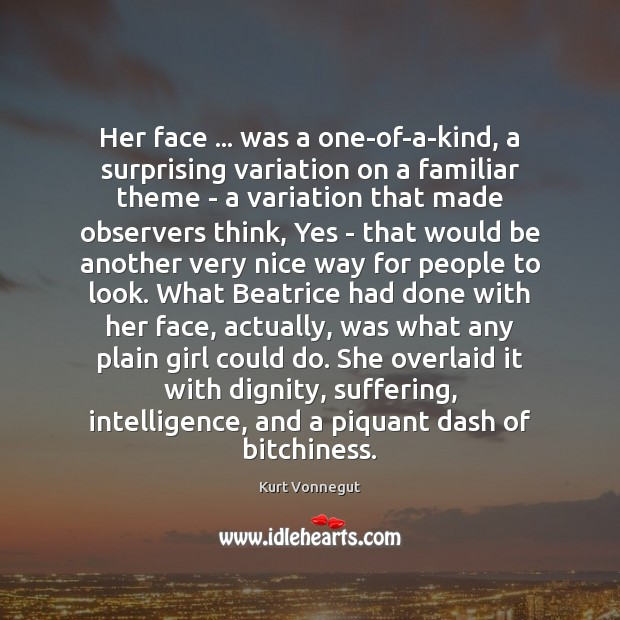 Her face … was a one-of-a-kind, a surprising variation on a familiar theme Image
