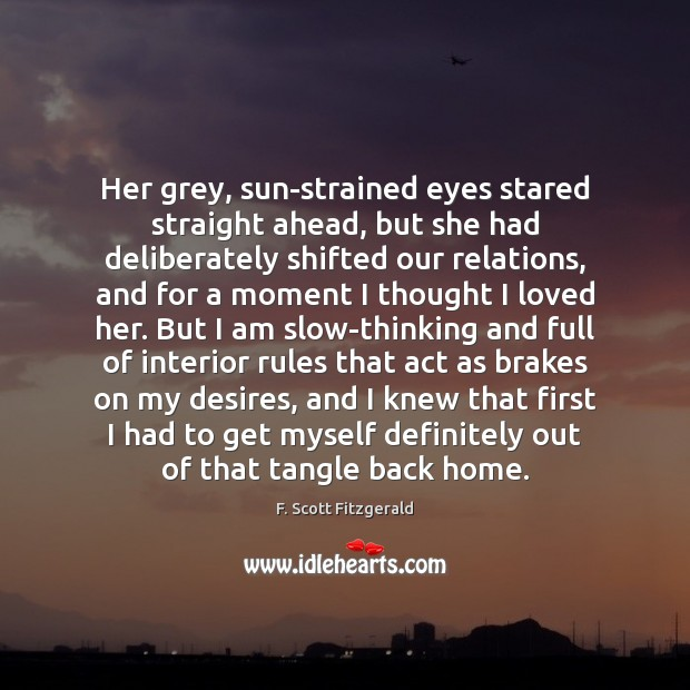 Her grey, sun-strained eyes stared straight ahead, but she had deliberately shifted Image