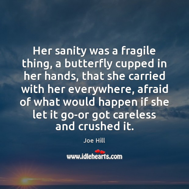 Her sanity was a fragile thing, a butterfly cupped in her hands, Joe Hill Picture Quote