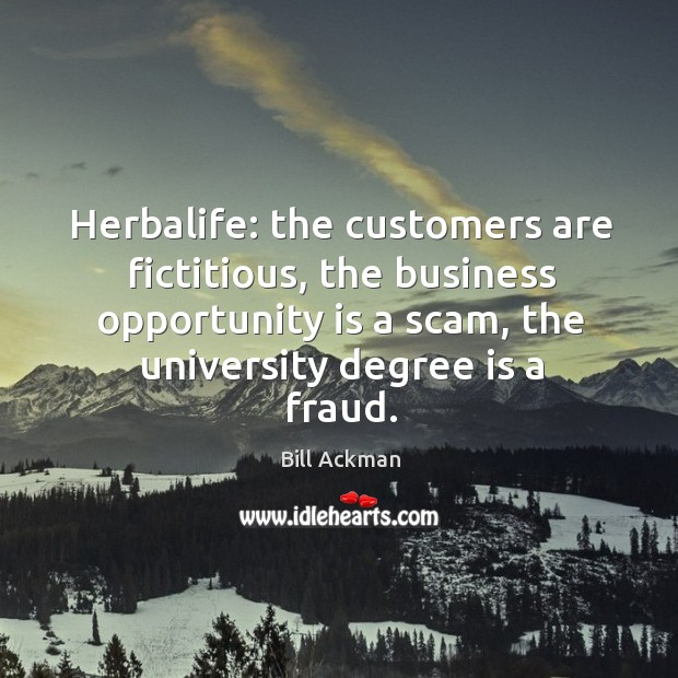 Image, Herbalife: the customers are fictitious, the business opportunity is a scam, the
