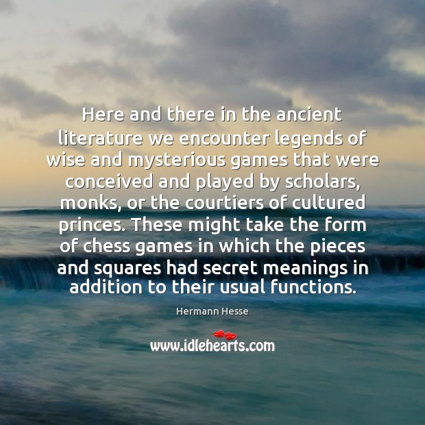 Image, Here and there in the ancient literature we encounter legends of wise