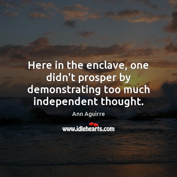 Here in the enclave, one didn't prosper by demonstrating too much independent thought. Ann Aguirre Picture Quote