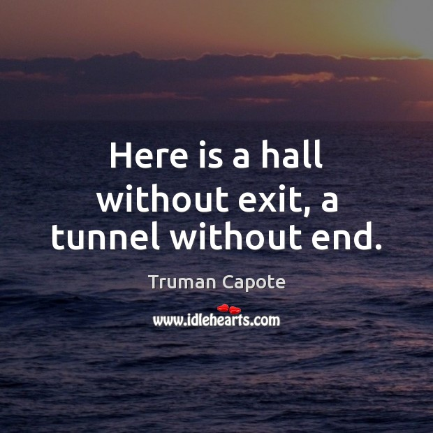 Image, Here is a hall without exit, a tunnel without end.