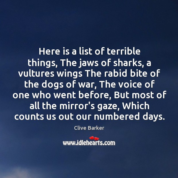 Here is a list of terrible things, The jaws of sharks, a Image