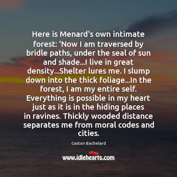Here is Menard's own intimate forest: 'Now I am traversed by bridle Gaston Bachelard Picture Quote