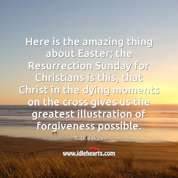 Here is the amazing thing about Easter; the Resurrection Sunday for Christians Easter Quotes Image