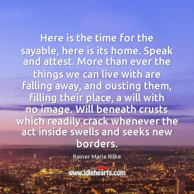 Image, Here is the time for the sayable, here is its home. Speak