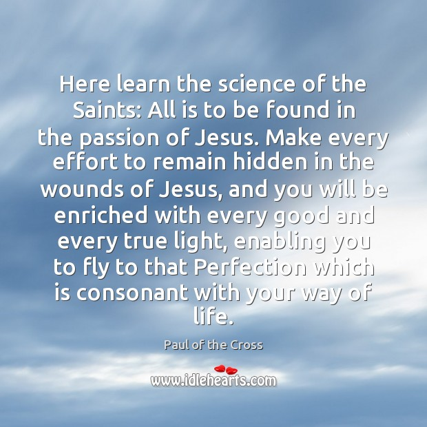 Here learn the science of the Saints: All is to be found Paul of the Cross Picture Quote