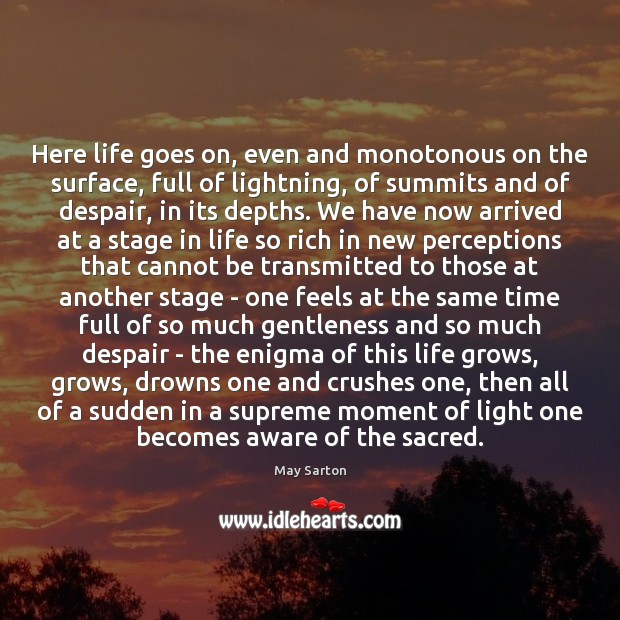 Here life goes on, even and monotonous on the surface, full of May Sarton Picture Quote