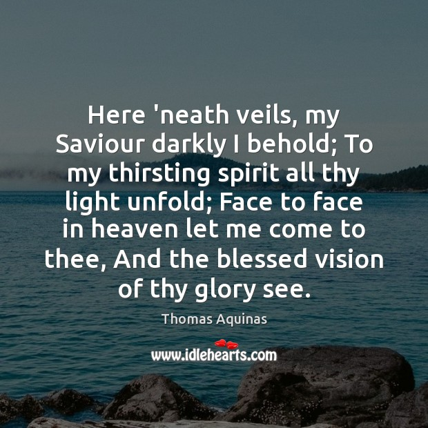 Image, Here 'neath veils, my Saviour darkly I behold; To my thirsting spirit