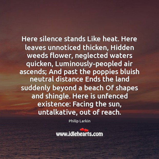Here silence stands Like heat. Here leaves unnoticed thicken, Hidden weeds flower, Philip Larkin Picture Quote