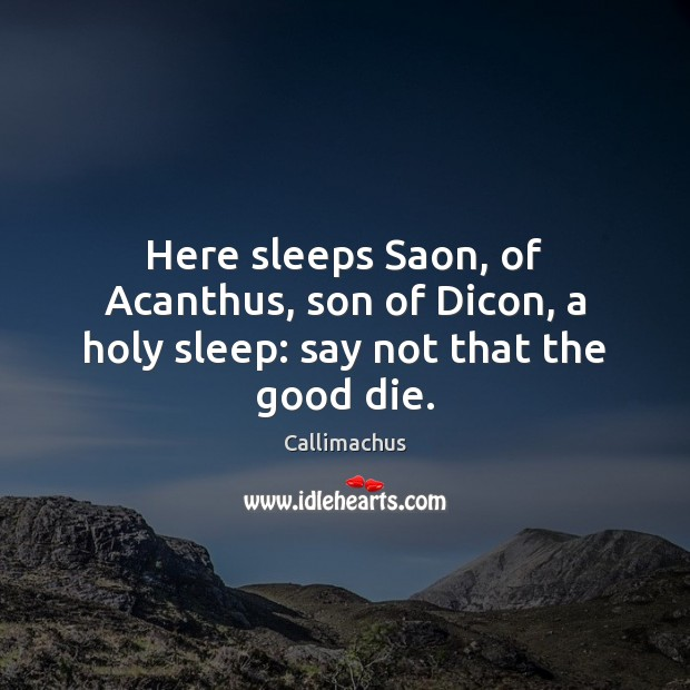 Image, Here sleeps Saon, of Acanthus, son of Dicon, a holy sleep: say not that the good die.