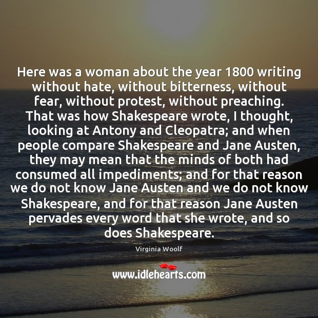Here was a woman about the year 1800 writing without hate, without bitterness, Image