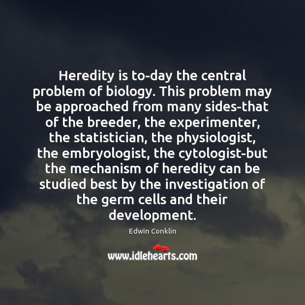 Heredity is to-day the central problem of biology. This problem may be Image