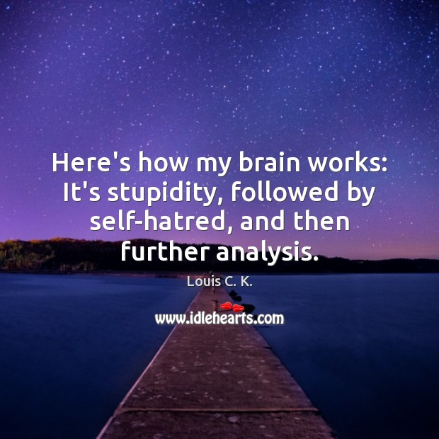 Here's how my brain works: It's stupidity, followed by self-hatred, and then Louis C. K. Picture Quote
