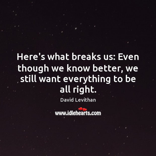Here's what breaks us: Even though we know better, we still want David Levithan Picture Quote