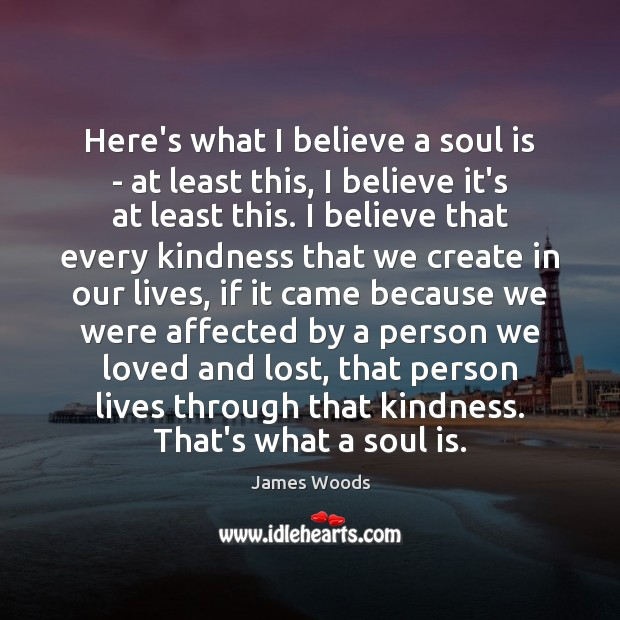 Here's what I believe a soul is – at least this, I James Woods Picture Quote