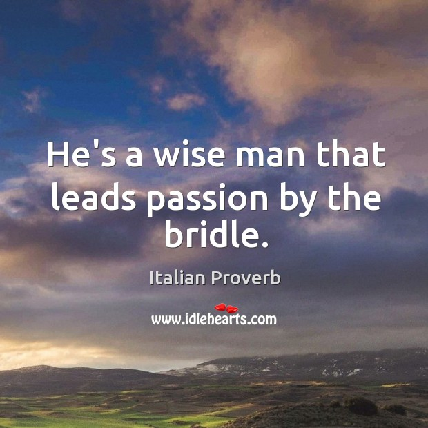 Image, He's a wise man that leads passion by the bridle.