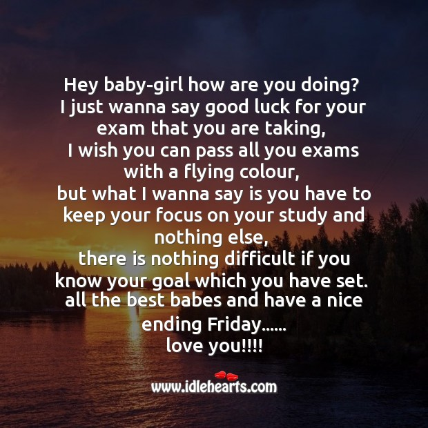 Hey baby-girl how are you doing? SMS Wishes Image