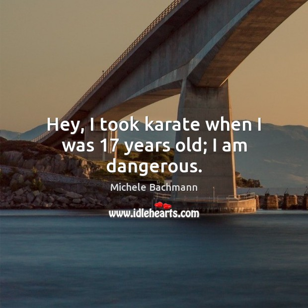 Hey, I took karate when I was 17 years old; I am dangerous. Image