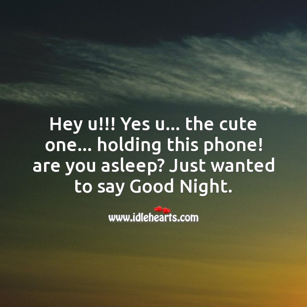 Hey you, yes you the cute one, holding the phone. Good Night Quotes for Love Image