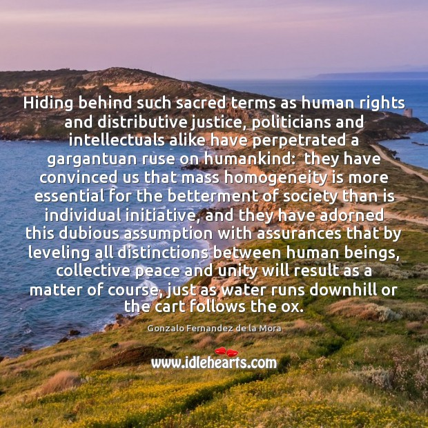 Hiding behind such sacred terms as human rights and distributive justice, politicians Gonzalo Fernandez de la Mora Picture Quote