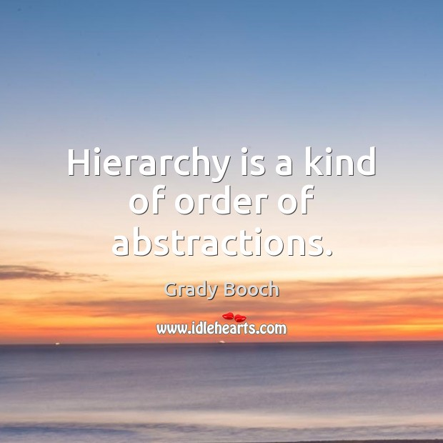 Hierarchy is a kind of order of abstractions. Image