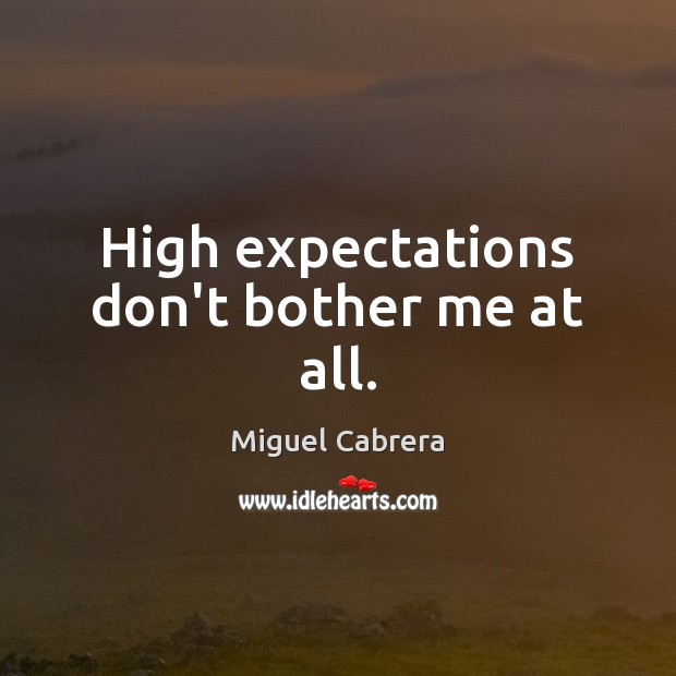 High expectations don't bother me at all. Image