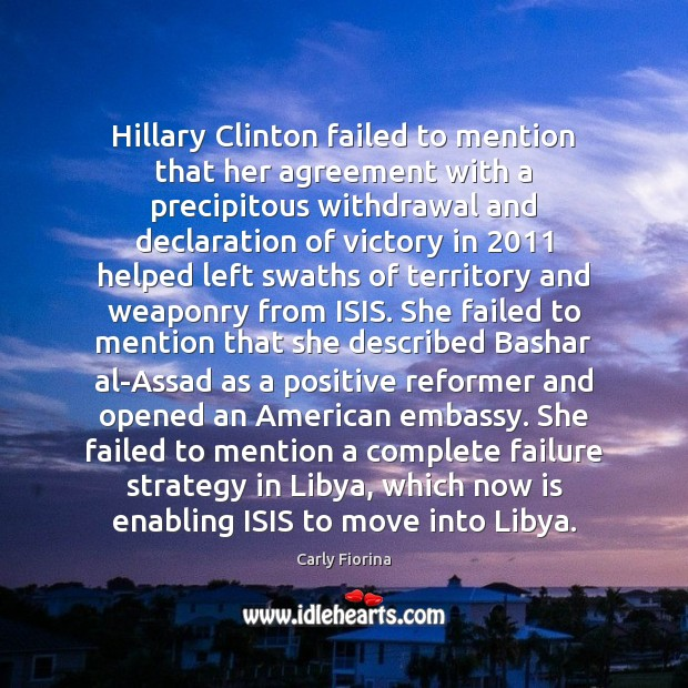 Image, Hillary Clinton failed to mention that her agreement with a precipitous withdrawal