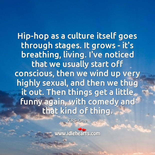 Hip-hop as a culture itself goes through stages. It grows – it's KRS-One Picture Quote