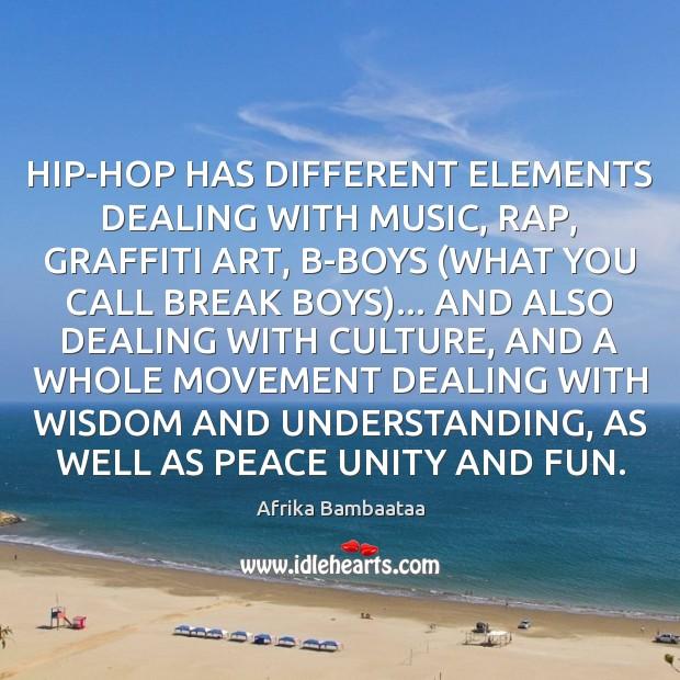 HIP-HOP HAS DIFFERENT ELEMENTS DEALING WITH MUSIC, RAP, GRAFFITI ART, B-BOYS (WHAT Image